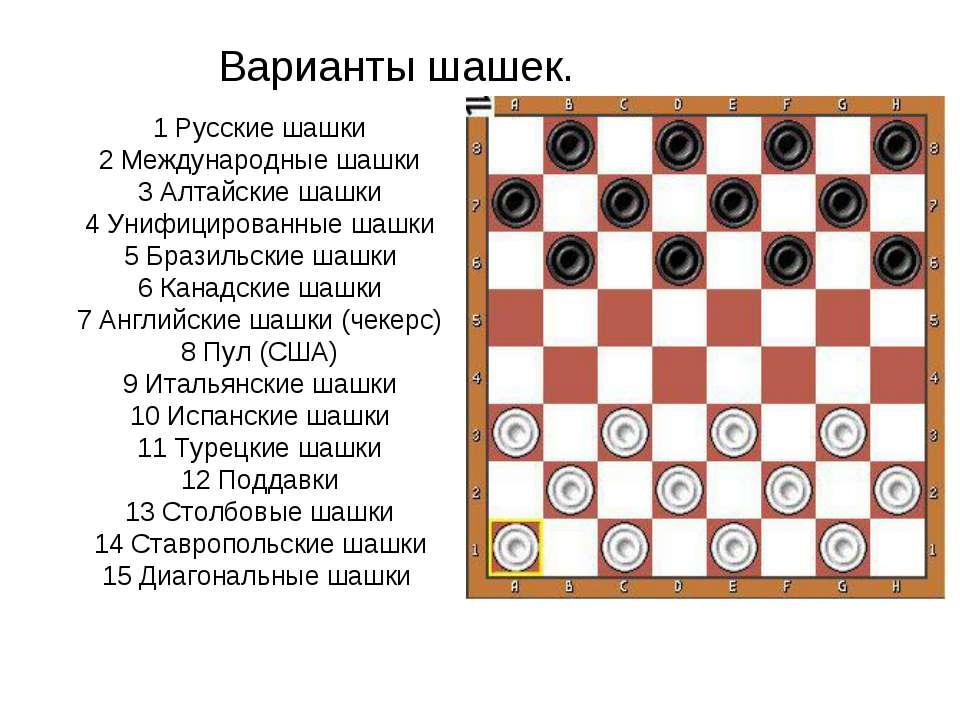 Варианты шашек. 1 Русские шашки 2 Международные шашки 3 Алтайские шашки 4 Уни...