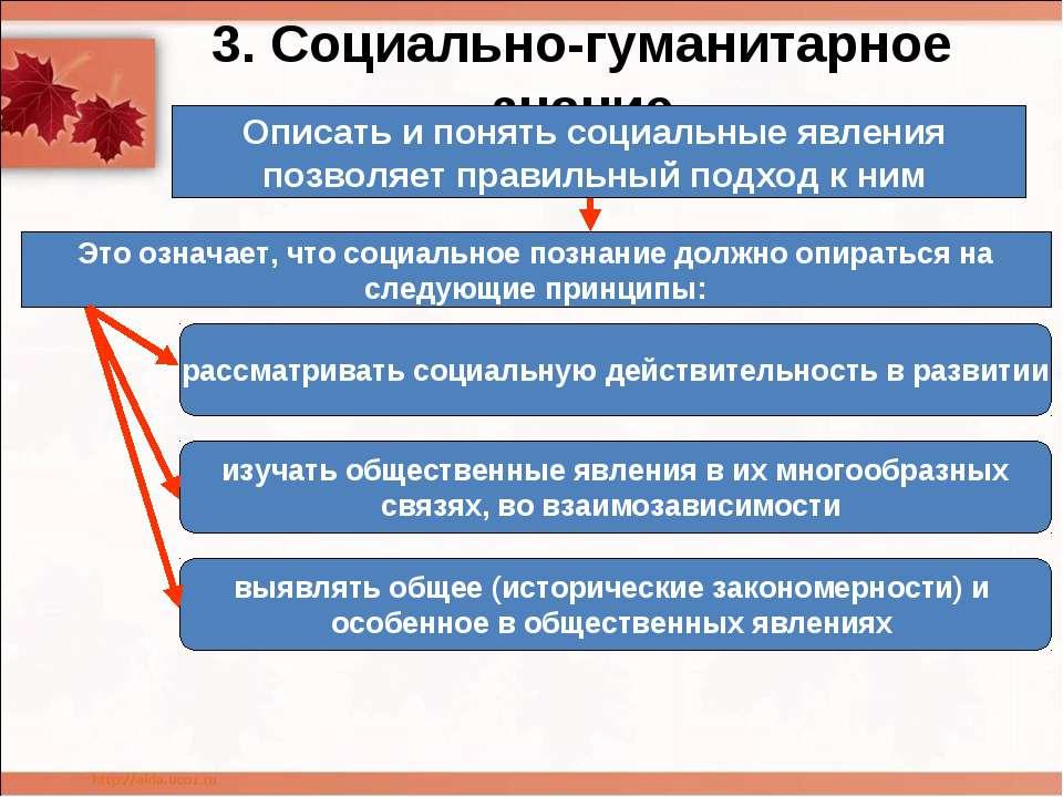 3. Социально-гуманитарное знание Описать и понять социальные явления позволяе...