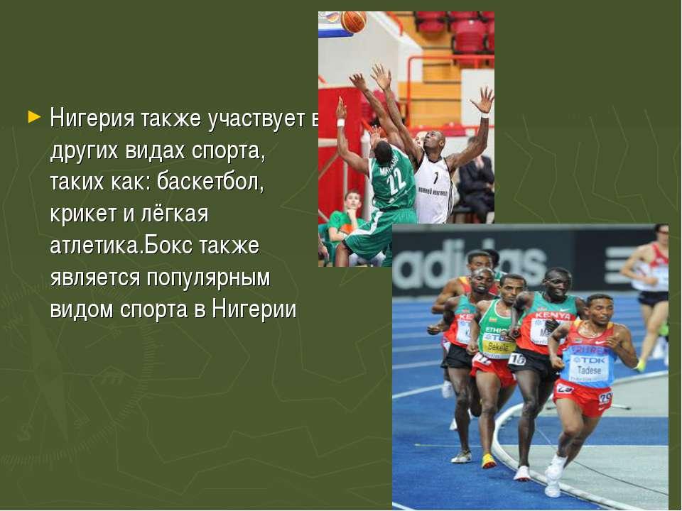 Нигерия также участвует в других видах спорта, таких как:баскетбол, крикет...