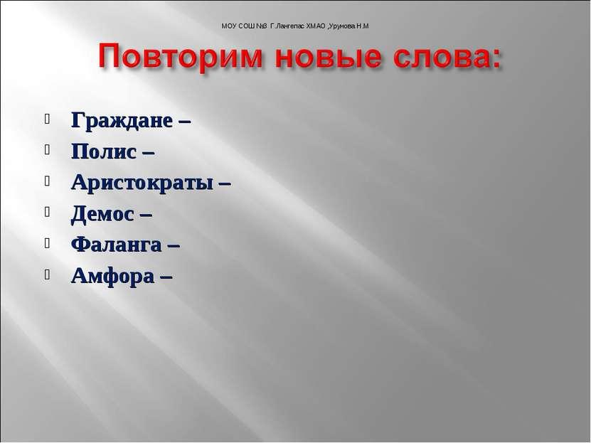 Граждане – Полис – Аристократы – Демос – Фаланга – Амфора – МОУ СОШ №3 Г.Ланг...
