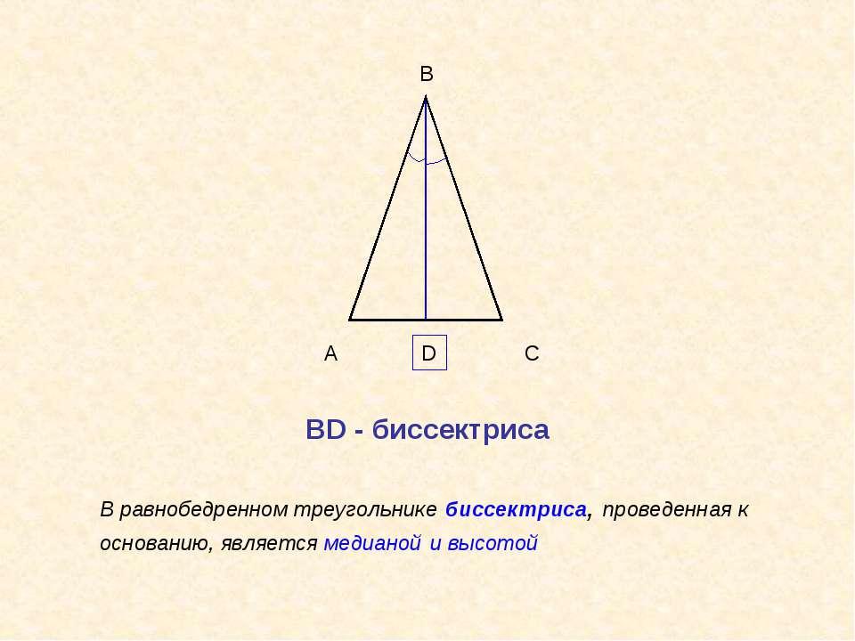 А В С В равнобедренном треугольнике биссектриса, проведенная к основанию, явл...