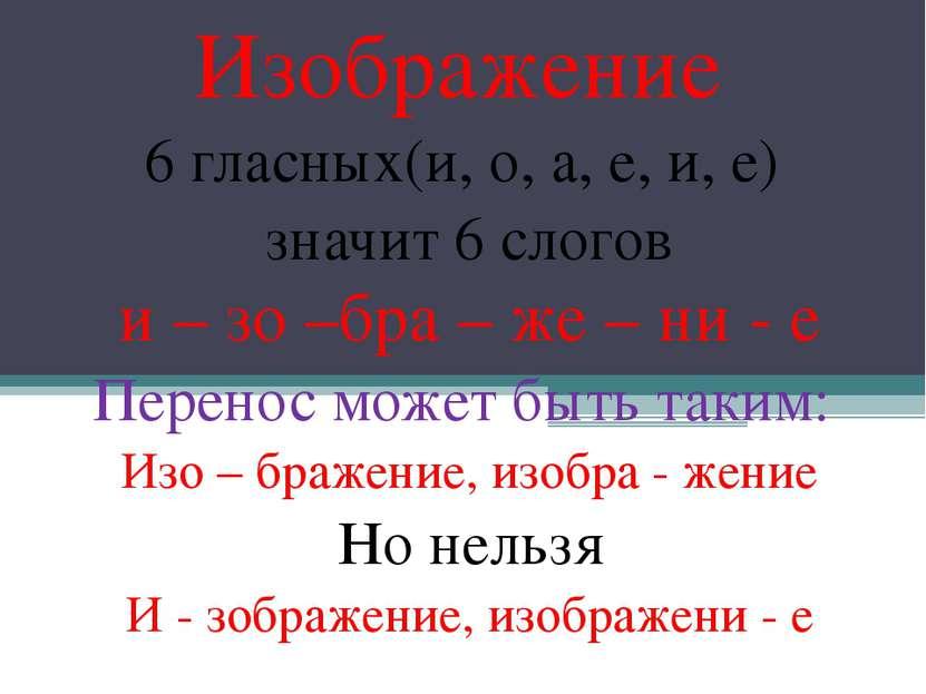 Изображение 6 гласных(и, о, а, е, и, е) значит 6 слогов и – зо –бра – же – ни...