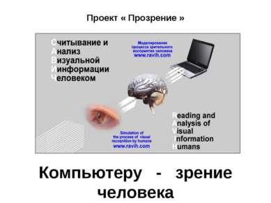 Проект « Прозрение » Компьютеру - зрение человека