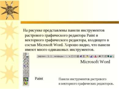 На рисунке представлены панели инструментов растрового графического редактора...
