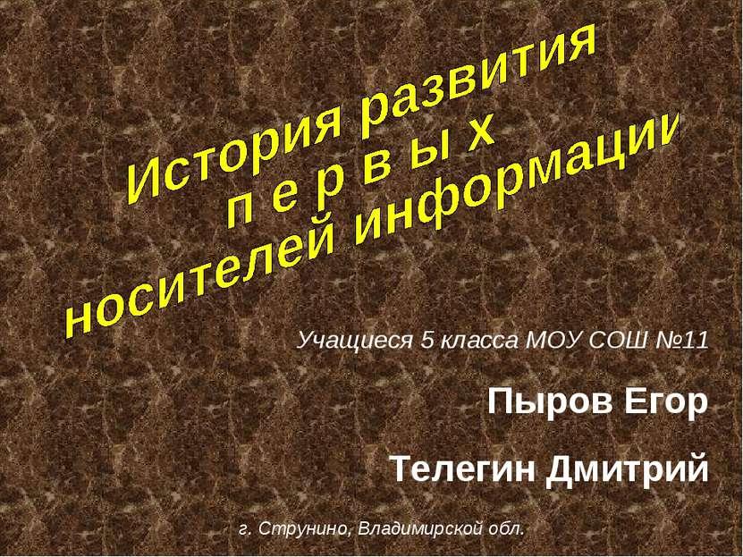Учащиеся 5 класса МОУ СОШ №11 Пыров Егор Телегин Дмитрий г. Струнино, Владими...