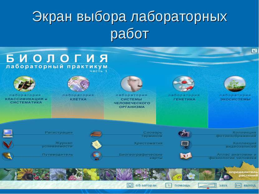 Экран выбора лабораторных работ