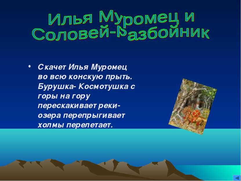 Скачет Илья Муромец во всю конскую прыть. Бурушка- Космотушка с горы на гору ...