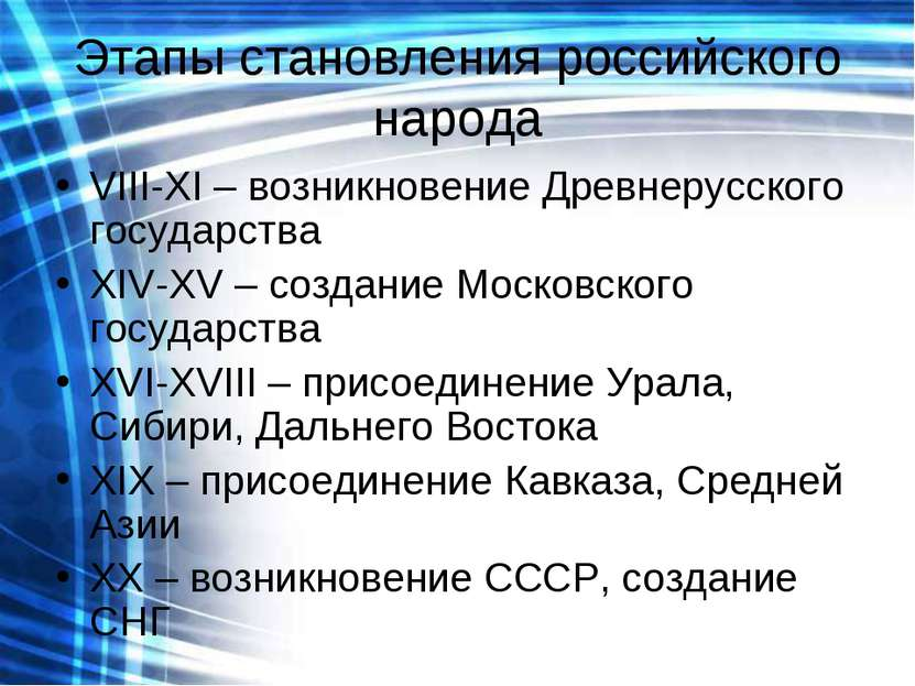 Этапы становления российского народа VIII-XI – возникновение Древнерусского г...