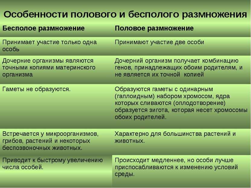 Особенности полового и бесполого размножения Бесполое размножение Половое раз...