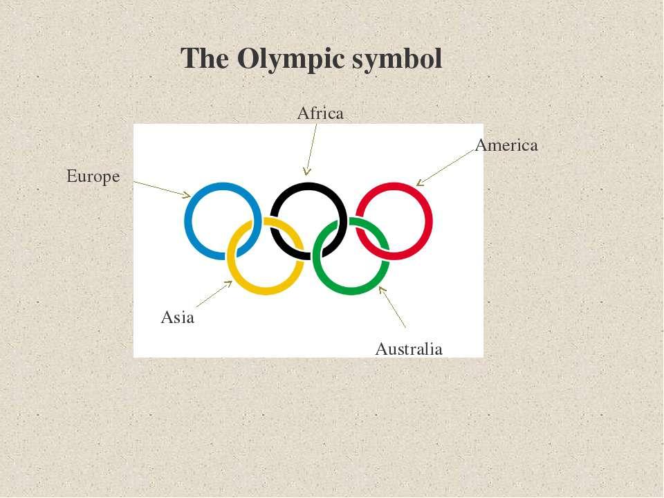 The Olympic symbol Europe Africa America Australia Asia