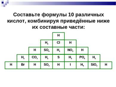 Н Cl Н2 Н SO4 H2 NO3 H H2 CO3 H2 S H3 H PO4 H2 Br H SO3 H SiO3 H4 I H H Соста...