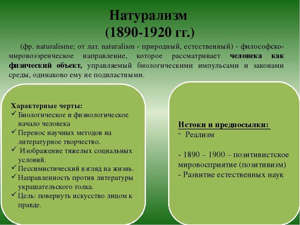 Натурализм (1890-1920 гг.) (фр. naturalisme; от лат. naturalism - природный, ...
