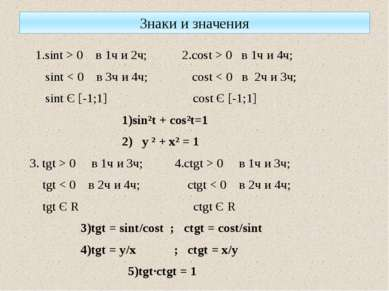 Знаки и значения 1.sint > 0 в 1ч и 2ч; 2.cost > 0 в 1ч и 4ч; sint < 0 в 3ч и ...