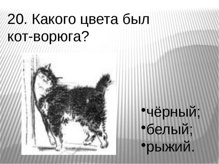 20. Какого цвета был кот-ворюга? чёрный; белый; рыжий.