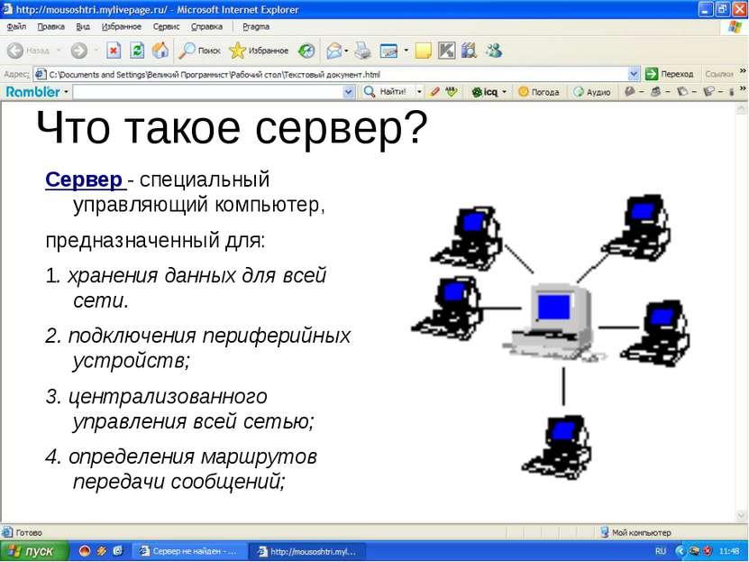 Что такое сервер? Сервер - специальный управляющий компьютер, предназначенный...