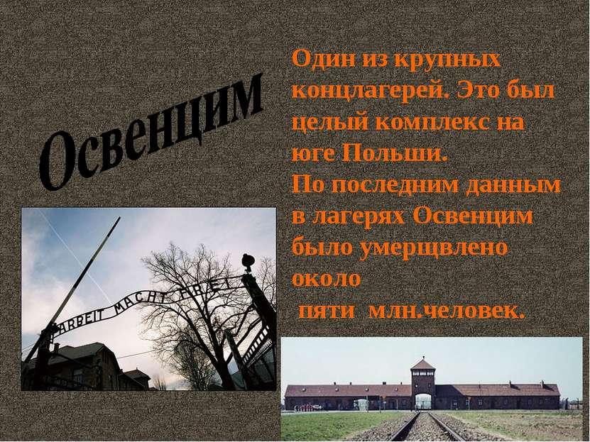Один из крупных концлагерей. Это был целый комплекс на юге Польши. По последн...