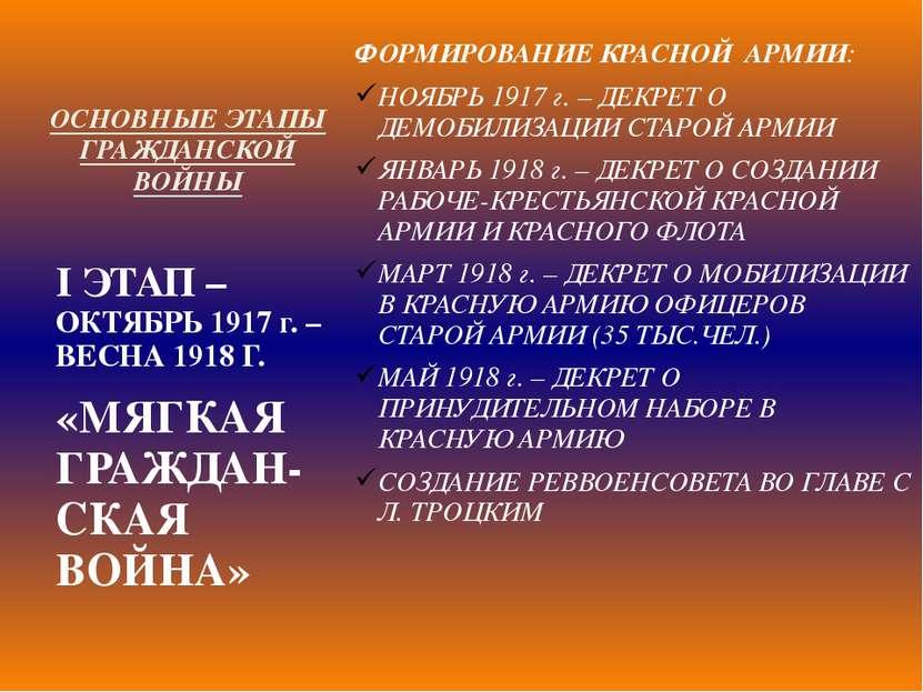 ОСНОВНЫЕ ЭТАПЫ ГРАЖДАНСКОЙ ВОЙНЫ ФОРМИРОВАНИЕ КРАСНОЙ АРМИИ: НОЯБРЬ 1917 г. –...