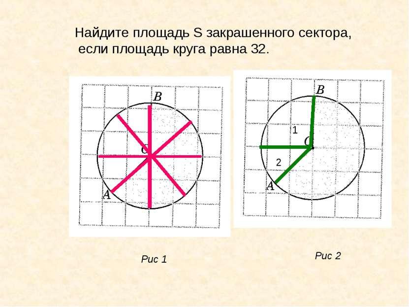 Найдите площадь S закрашенного сектора, если площадь круга равна 32. Рис 1 Ри...