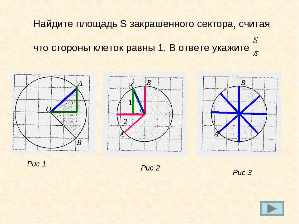 Найдите площадь S закрашенного сектора, считая что стороны клеток равны 1. В ...