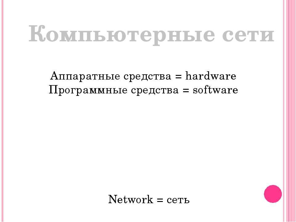 Компьютерные сети Аппаратные средства = hardware Программные средства = softw...