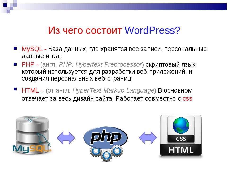 Из чего состоит WordPress? MySQL - База данных, где хранятся все записи, перс...