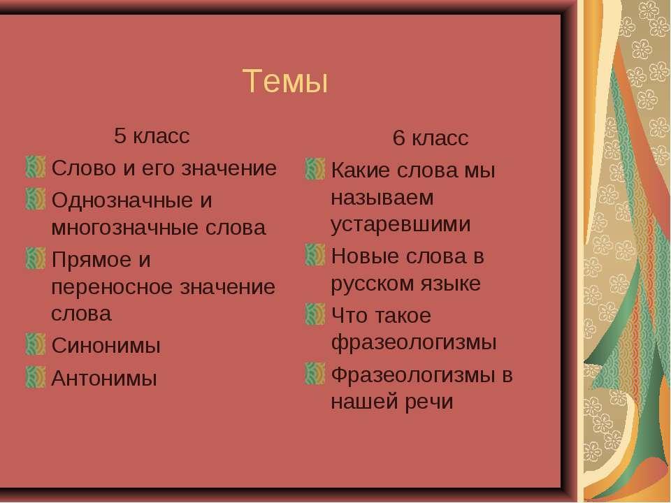 Темы 5 класс Слово и его значение Однозначные и многозначные слова Прямое и п...