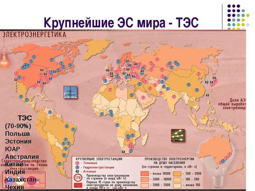 Крупнейшие ЭС мира - ТЭС ТЭС (70-90%) Польша Эстония ЮАР Австралия Китай Инди...
