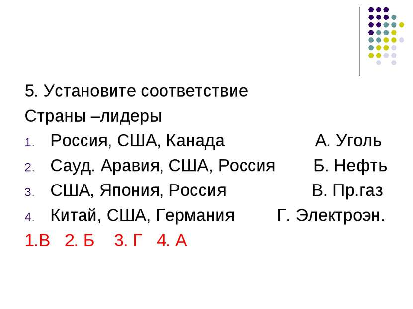 5. Установите соответствие Страны –лидеры Россия, США, Канада А. Уголь Сауд. ...
