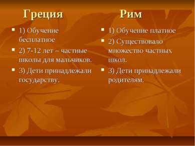 Греция Рим 1) Обучение бесплатное 2) 7-12 лет – частные школы для мальчиков. ...