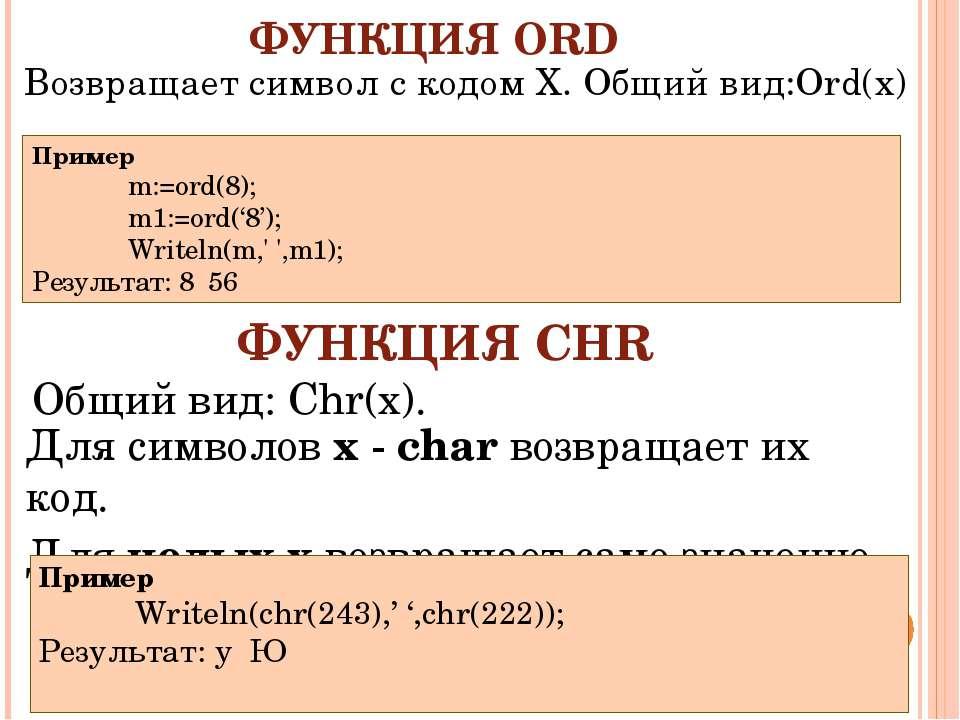 ФУНКЦИЯ ORD Для символов х - char возвращает их код. Для целых x возвращает с...