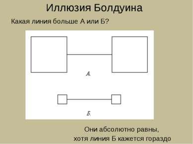 Иллюзия Болдуина Какая линия больше А или Б? Они абсолютно равны, хотя линия ...