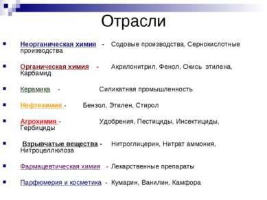 Отрасли Неорганическая химия - Содовые производства, Сернокислотные производс...