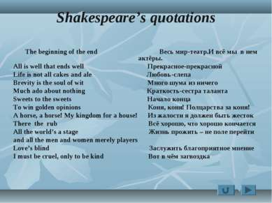 Shakespeare's quotations The beginning of the end Весь мир-театр.И всё мы в н...