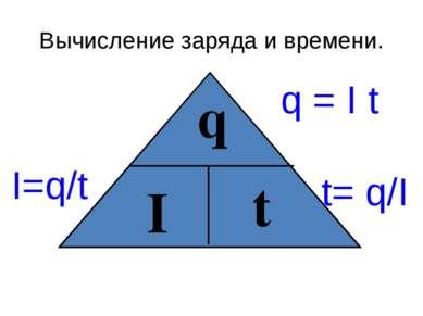 Вычисление заряда и времени. q I t I=q/t q = I t t= q/I