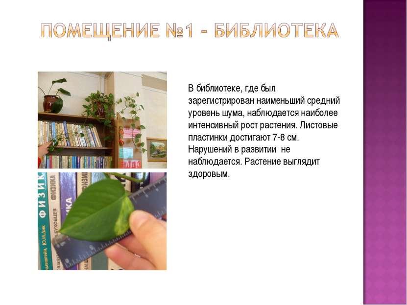 В библиотеке, где был зарегистрирован наименьший средний уровень шума, наблюд...