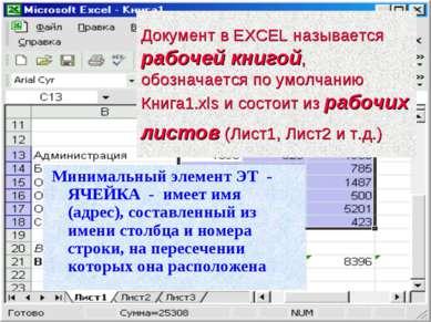 Документ в EXCEL называется рабочей книгой, обозначается по умолчанию Книга1....