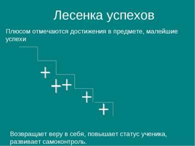 Лесенка успехов Плюсом отмечаются достижения в предмете, малейшие успехи Возв...