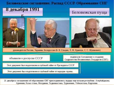 Беловежское соглашение. Распад СССР. Образование СНГ 21 декабря к соглашению ...