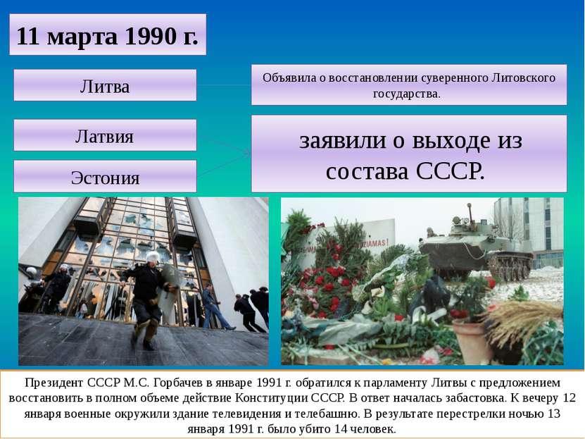 Президент СССР М.С. Горбачев в январе 1991 г. обратился к парламенту Литвы с ...