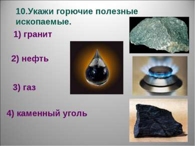 10.Укажи горючие полезные ископаемые. 1) гранит 2) нефть 3) газ 4) каменный у...