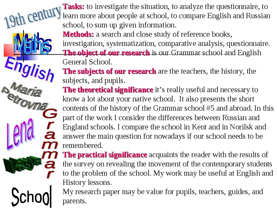 Tasks: to investigate the situation, to analyze the questionnaire, to learn m...