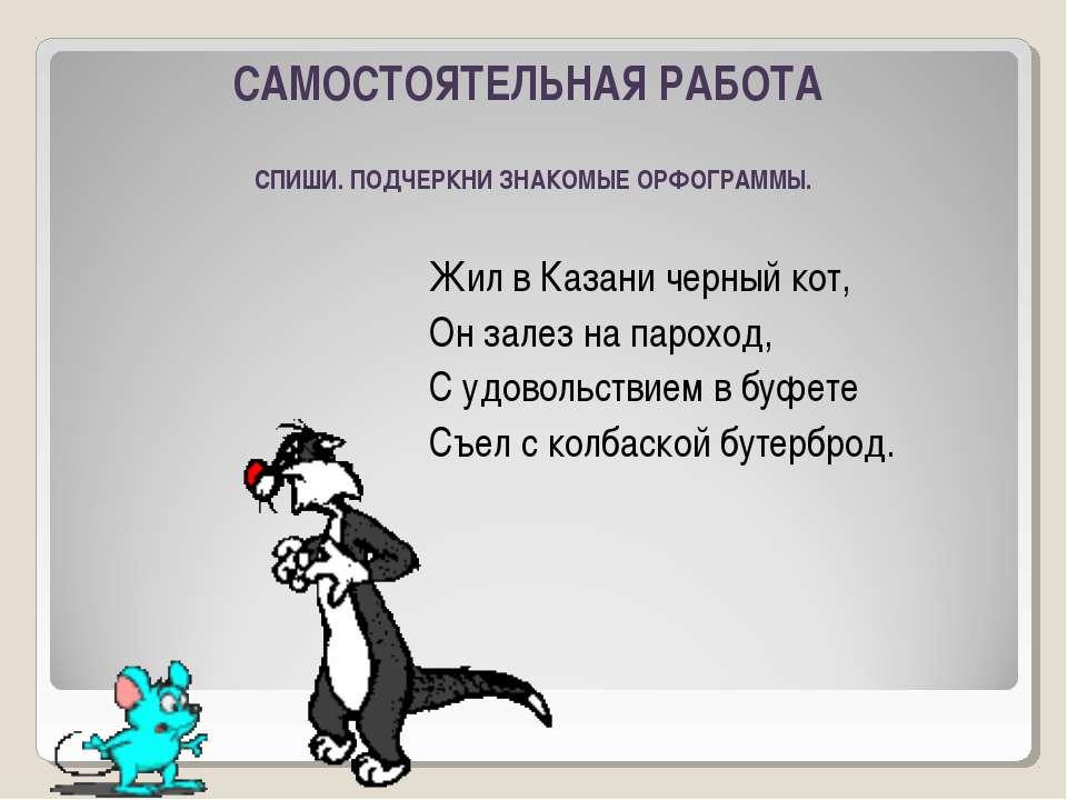 Жил в Казани черный кот, Он залез на пароход, С удовольствием в буфете Съел с...