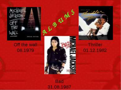 A L B U M S Off the wall 08.1979 Thriller 01.12.1982 Bad 31.08.1987