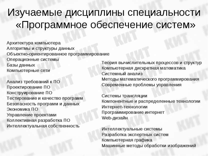 Изучаемые дисциплины специальности «Программное обеспечение систем» Архитекту...