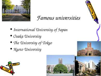 Famous universities International University of Japan Osaka University The Un...