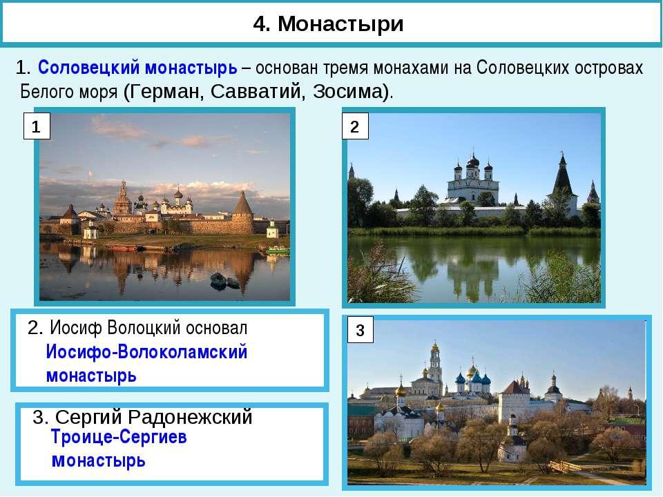1. Соловецкий монастырь – основан тремя монахами на Соловецких островах Белог...