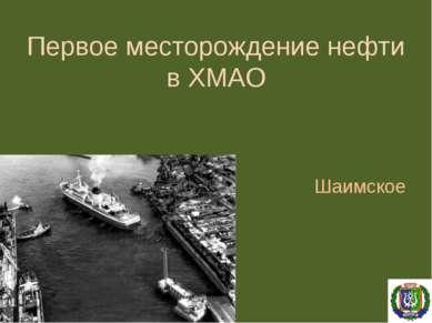 Первое месторождение нефти в ХМАО Шаимское