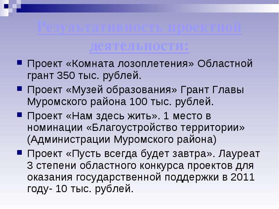 Результативность проектной деятельности: Проект «Комната лозоплетения» Област...