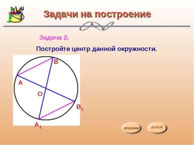 Задачи на построение Задача 2. Постройте центр данной окружности. О А В А1 В1...
