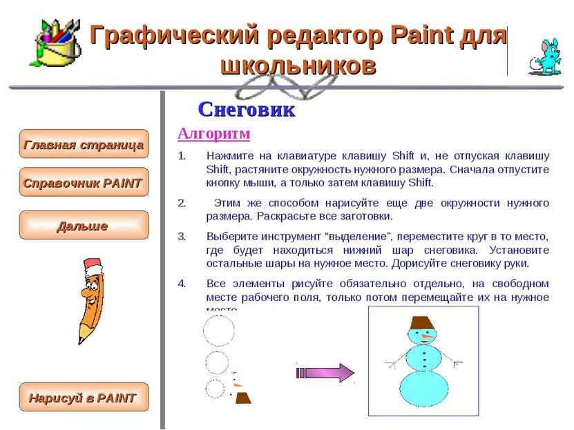 Графический редактор Paint для школьников Снеговик Алгоритм Нажмите на клавиа...